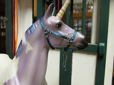Jaapi BLUE TEAL *FOAL* halter w/lead-fit Breyer traditional foal or Classic