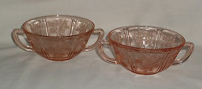 """2 Federal SHARON/CABBAGE ROSE PINK *5"""" CREAM SOUP BOWLS*"""