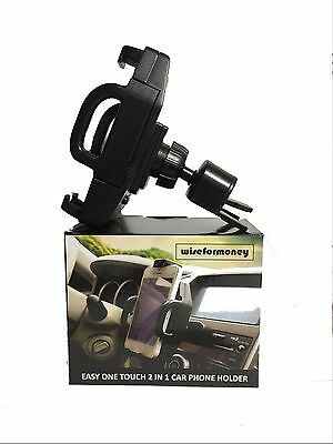 Easy Button CD Slot and Air Vent Car Mount Phone Holder with 360 degree rotation