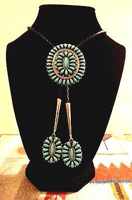 Sterling Silver Navajo Turquoise Petitpoint Cluster Bolo Tie/Dangles, Signed RD
