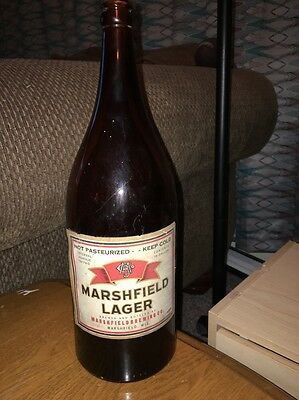 MARSHFIELD LAGER Brewing Co. Marshfield WI Picnic Beer Bottle Half Gallon Amber