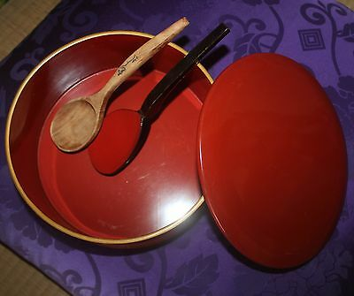 Japanese '50s wooden round HITSU Rice-container, Rice-scoop incl. - 24cm dia.