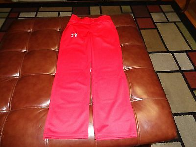 NWT Brand New Boys Under Armour Red Baseball Pants. Small S. Loose Fit