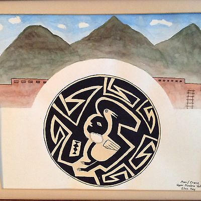 NATIVE AMERICAN; painting called MAN CRANE  signed Ellen Kay
