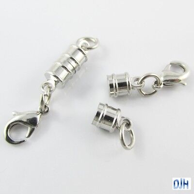 5 Sets Column Magnetic Clasp with Parrot Clasp / Jumpring end Silver Tone 17x6mm