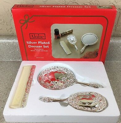 Vintage Silver Plated Dresser Set Comb Mirror Brush Aloise Accessories