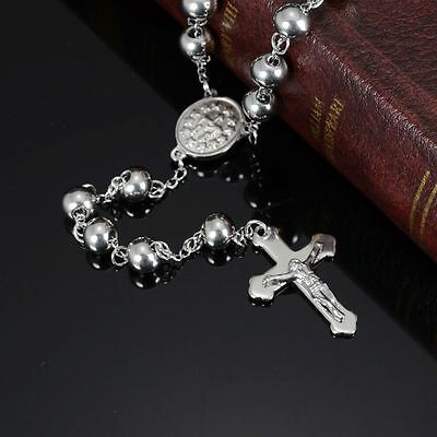 Mens Womens Stainless Steel Silver Beads Rosary Cross Pendant Necklace + Box N53