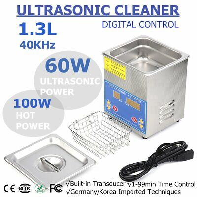 New Stainless Steel 1.3L Liter Industry Heated Ultrasonic Cleaner Heater Timer M