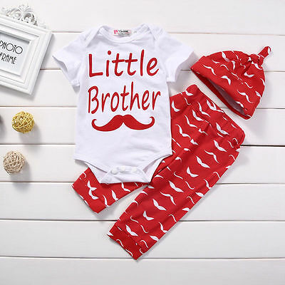 Newborn Little Brother Baby Boy Tops Romper+Pants+Hat 3pcs Outfits Clothes Set