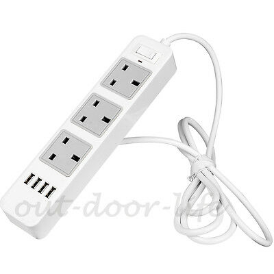 3 Way Outlets 4 USB Ports Power Strip Surge Protector Socket Extension Lead-2m