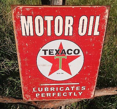TEXACO MOTOR OIL Sign Tin Vintage Garage Bar Decor Old Rustic Lubricates Perfect