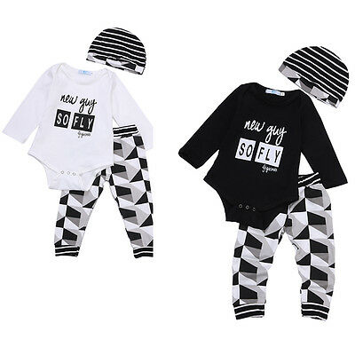 Baby Boys Outfits Infant Bodysuit Jumpsuit Romper +Long Pants 3Pcs Clothes Set
