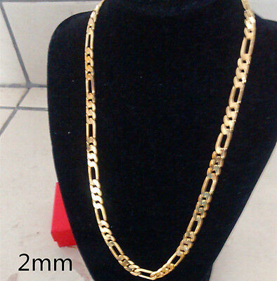 Mens 18k Gold Plated 2mm Italian Figaro Link Chain Necklace 22 Inches Xmas Gift