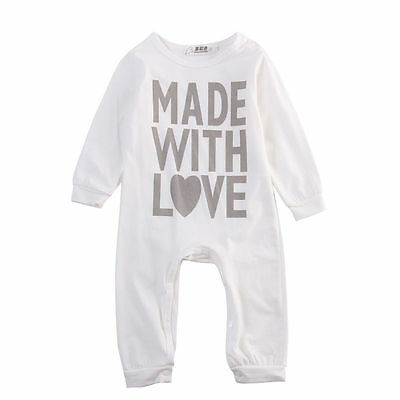 Newborn Infant Baby Boy Girl Long Romper Bodysuit Jumpsuit Clothes Outfits