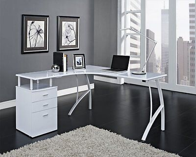 White Modren Corner Computer Desk Home Office PC Table with 3 Drawers L-Shaped