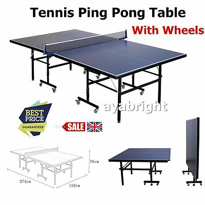 New Full Size Indoor Outdoor Gym Foldable Compact Ping Pong Tennis Table Desk UK