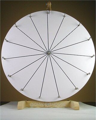 "24"" YDL® Tabletop White Dry Erase Prize Wheel w 15 Slots & Wood Stand, Spinning"
