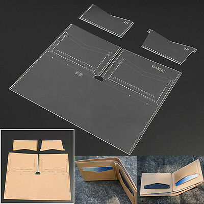 Clear Acrylic Leather Wallet Templates Set Patterns Leathercraft DIY Tool New