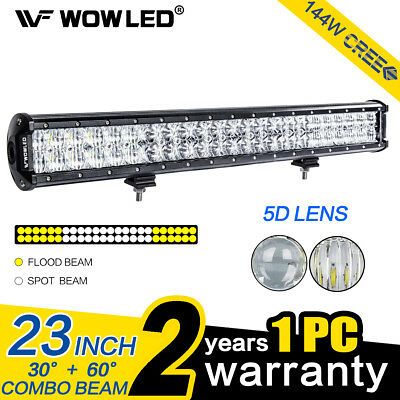 23 Inch 144W 5D Lens CREE LED Light Bar Flood Spot Combo Driving Lamp SUV Truck