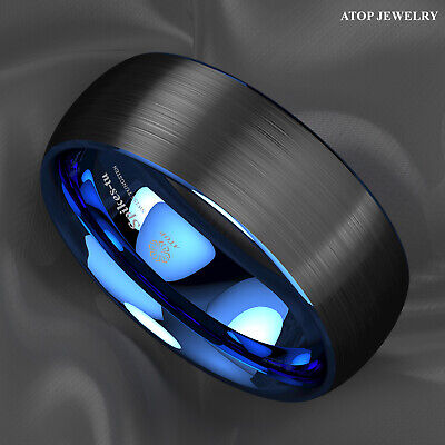 8Mm Dome Brushed Blue black Tungsten ring Wedding Band Bridal ATOP Mens Jewelry