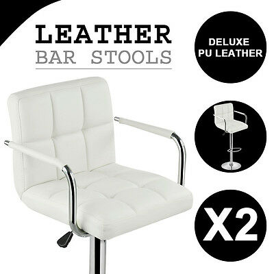 2X New PU Leather Bar Stool Kitchen Chair Metal Steel Home Dining Gas Lift White