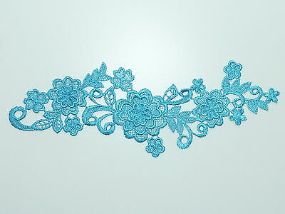 26cm by 7cm BEAUTIFUL 3d FLOWERS GUIPURE APPLIQUE IN TEAL / TURQUOISE ref AP31