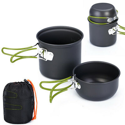Portable Outdoor Cookware Camping Picnic Cooking Nonstick Bowl Pan Pots Set