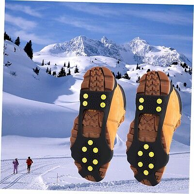 10 Studs Ice Snow Climbing Walking Non-slip Shoe Covers Spike Grips Crampons DF