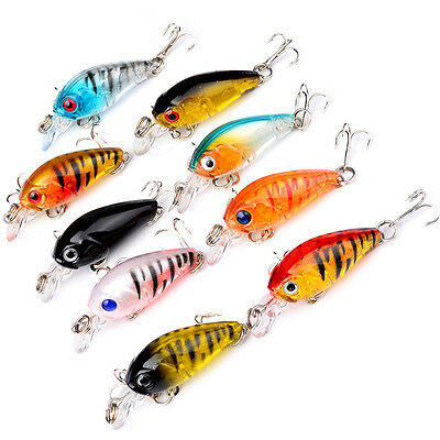 4/5pcs Plastic Minnow Fishing Lures Bass Crankbait Tackle Fish Hooks 4.5CM New