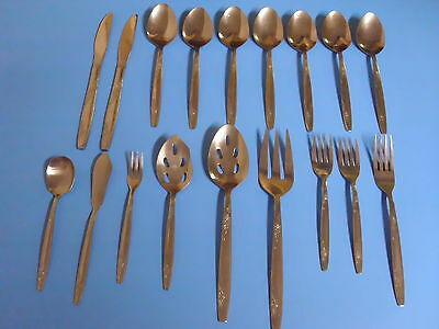 Stainless Steel Flatware Lot Of 18 Rosemere Korea Imperial Knives Spoons Forks