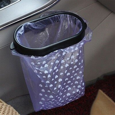 Black Auto Car Garbage Trash Carry Bag Sucker Trash Can Rack Hanger New DF