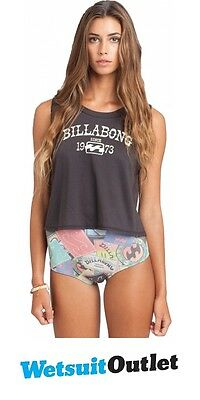 Billabong Ladies Heritage Mash Up Muscle Tank Top OFF BLACK T4GY02