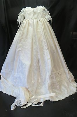 `FRANCESCA` Ivory Silk and Lace Christening Gown