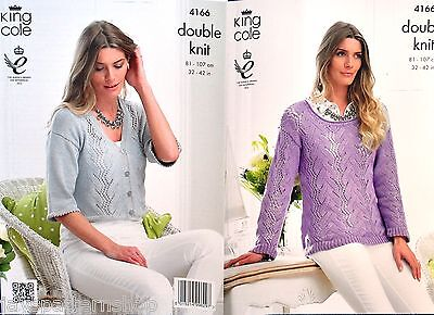 Ladies Double Knit Lacy Sweater & Cardigan Knitting Pattern 32 - 42 Inch