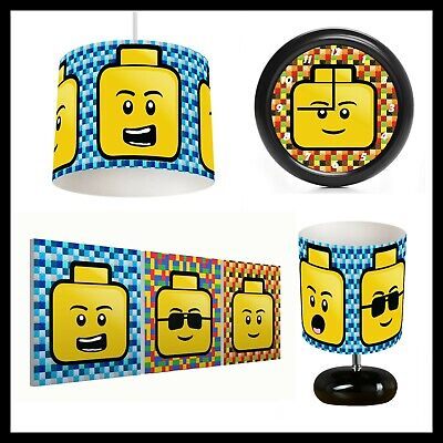 LEGO HEADS - Bedroom Bundle Lampshade, Lamp, Clock, Canvas Prints FREE P&P