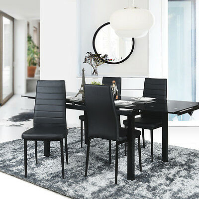 Set of 4 Dining Chair Faux Leather Modern Soft Dinner Chair Black Home Furniture