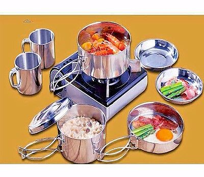 8 Pcs Stainless Steel Camping Cookware Cooking Picnic Bowl Pot Pan Set Outdoor
