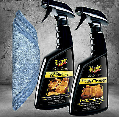 Meguiars Gold Class Lederpflege Set Conditioner, Cleaner + Tuch G18516 G18616