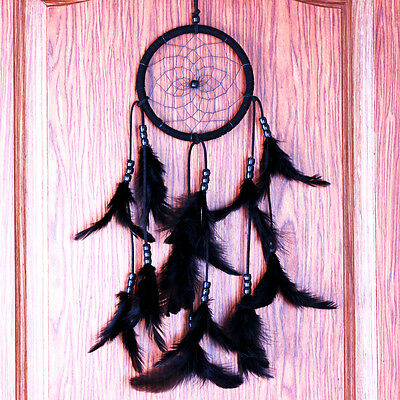 Retro Dream Catcher Circular Black Feathers Wall Hanging Decor Craft Ornament