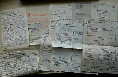 JOB LOT of 10 paperwork items related to income tax, 1940s/1950s, ephemera