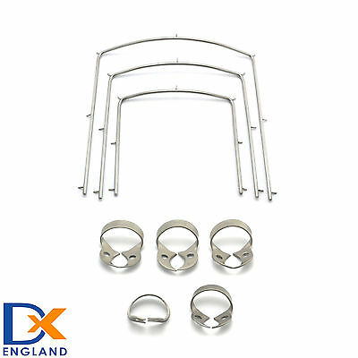 Dental Rubber Dam Wingless Clamps - Frames Three Sizes 4'' 5'' 6'' Restorative