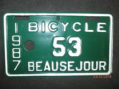 Rare  Vintage Beausejour Manitoba Canada Bicycle License Plate Nos Unused