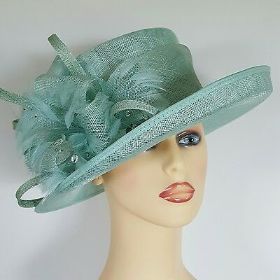 Ladies Wedding Races Mother Bride Ascot Hat Green Glass Beads Failsworth