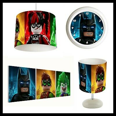 LEGO BATMAN MOVIE - Bedroom Bundle Lampshade, Lamp, Clock, Canvas Print FREE PP