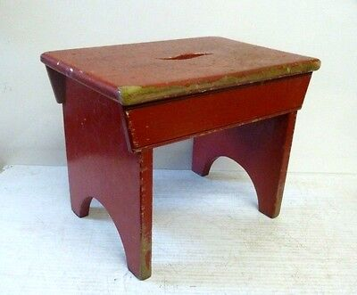Vintage Pine Bench Stool with Hand Hole