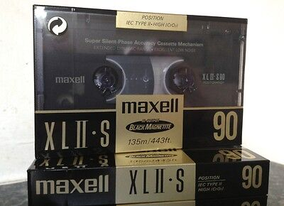 Maxell XLII-S C90 Type II blank sealed cassette tapes 1991 - Lot of 5 tapes