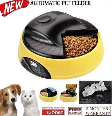 New Digital Display Auto 4 Meals Tray Automatic Pet Dog Cat Pets Feeder Yellow