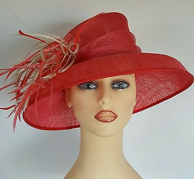 Ladies Wedding Races Mother Bride Ascot Hat Coral Pinks Ivory Feathers by Libra