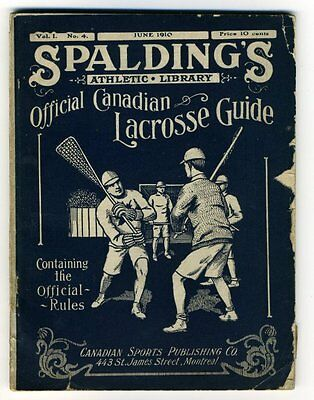 SPALDING'S ATHLETIC LIBRARY OFFICIAL CANADIAN LACROSSE GUIDE 1910 History Rules