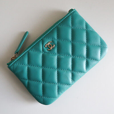 BNIB CHANEL small pouch turquoise blue lambskin leather gold o case quilt wallet
